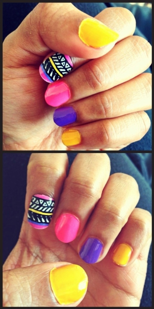 aztec candy coloured nails obsessions